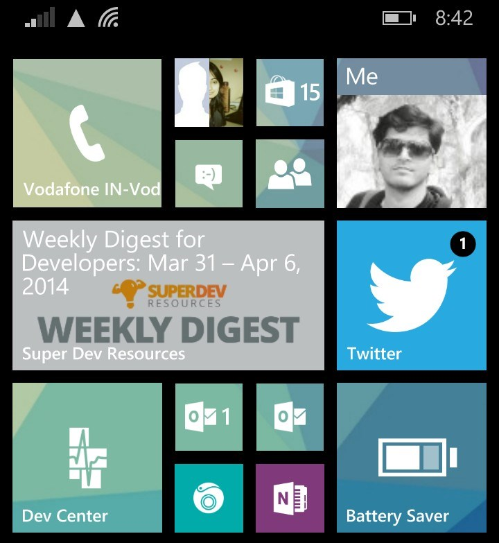 SuperDev Live tile on Windows Phone