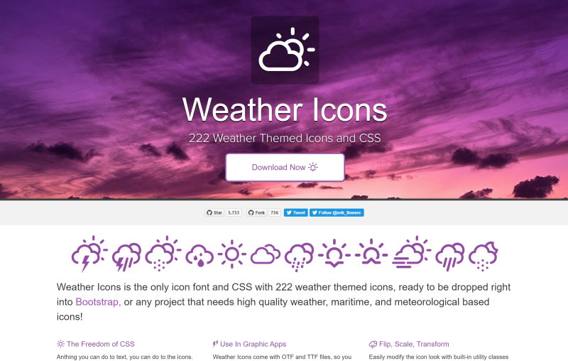 erikflowers free weather icon font css
