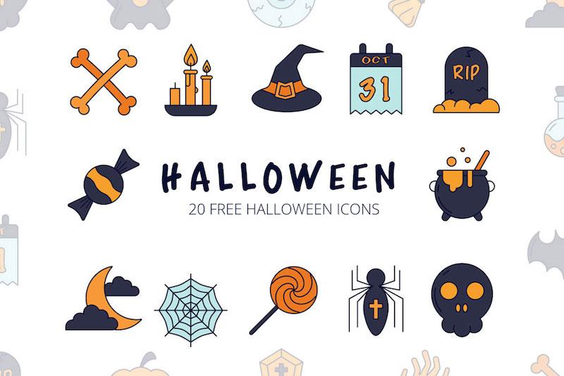 20 free halloween vector icon set