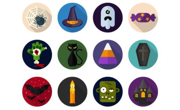 5-halloween-flat-icons-set