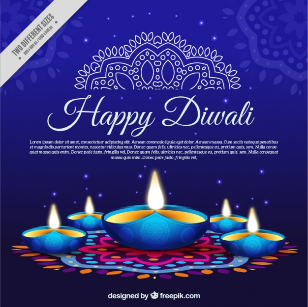 Diwali Card with Blue background and Lamps