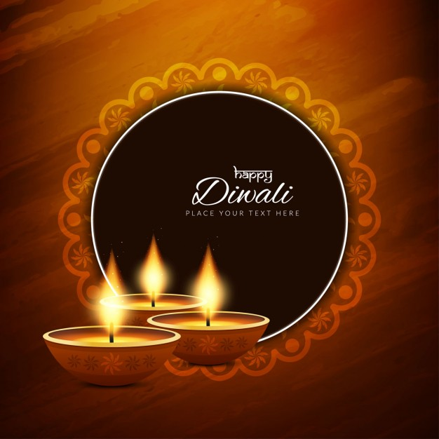 Free Diwali Greeting Card with Brown Background