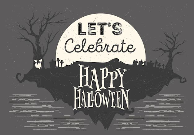 Flat Styled Halloween Night Illustration Vector