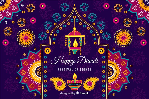 colorful diwali background rangoli lamps