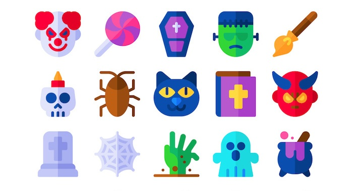colorful halloween icons