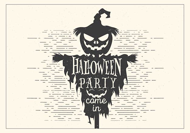 Retro Halloween Party vector with skull illustration