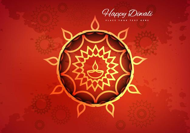 diwali card floral background vector