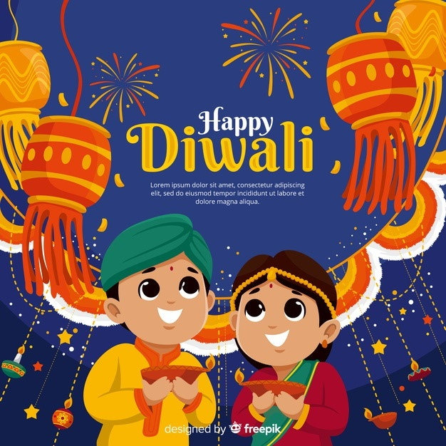 diwali vector people holding diyas