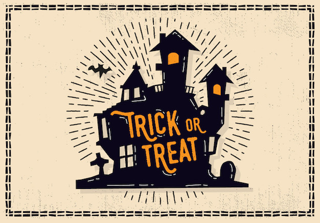 Halloween Trick or Treat Illustration with Castle and Cemetery