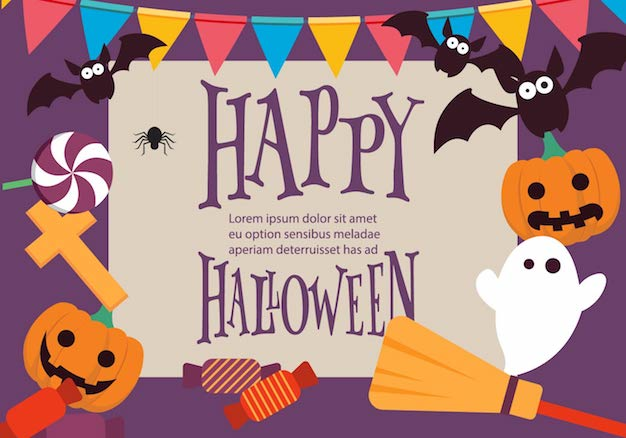 Halloween Background Vector Template with Colorful Elements