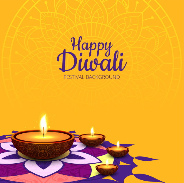 happy diwali background yellow