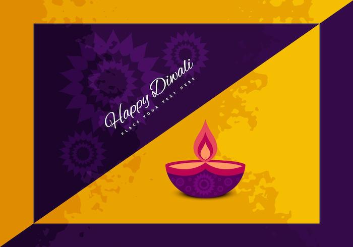 happy diwali with oil lamp