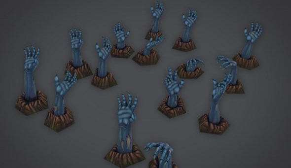 low-poly-zombie-hands-set-3d-model-3docean