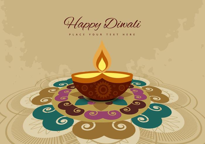 rangoli and diya diwali background