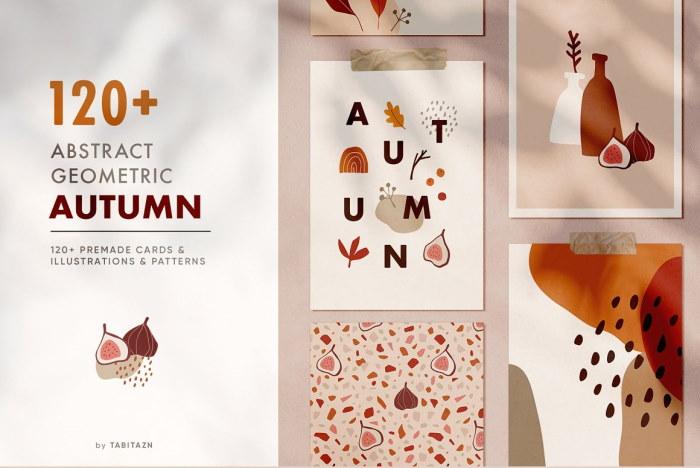 abstract geometric autumn set