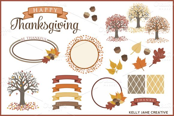 autumn-trees-leaves-acorn-thanksgiving-vector-graphics