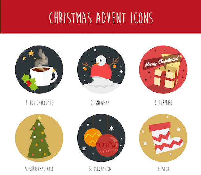 christmas advent icon set