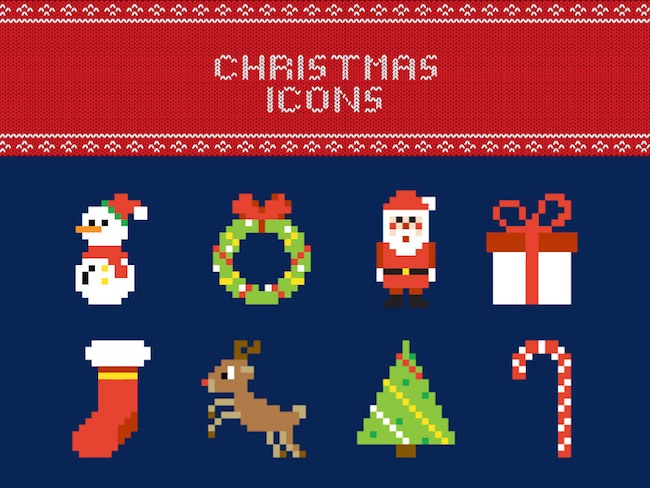 free pixel christmas icons