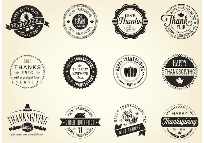 Thanksgiving vector badges in vintage style