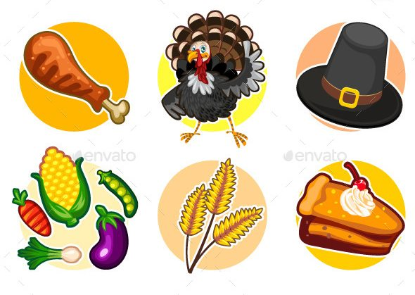 happy-thanksgiving-sticker-icon-set