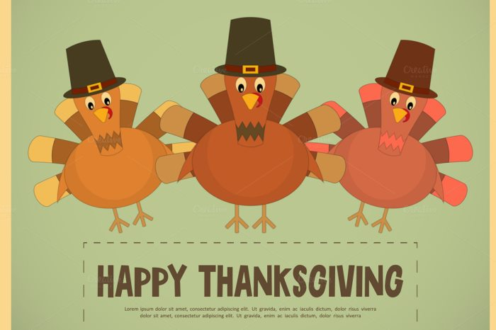 Thanksgiving Day. Retro Posters Set with Cartoon Turkey. Vector Illustration.