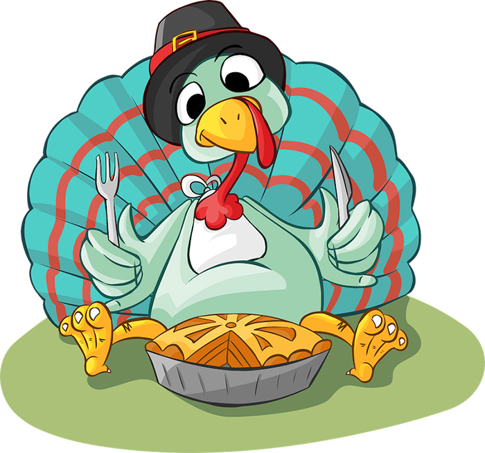 Free illustration of Thanksgiving Turkey eating pie