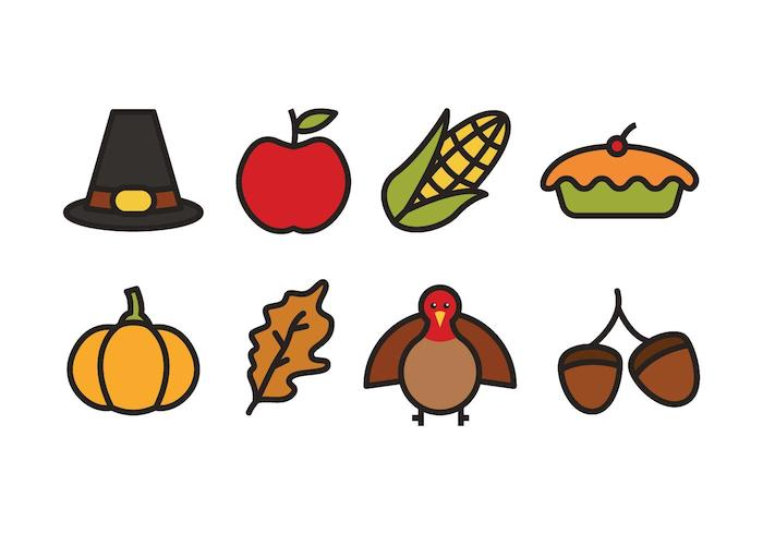 Free cartoon style thanksgiving icons