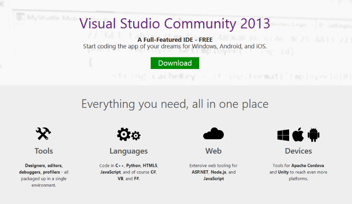 Free Visual Studio Community Edition is available for Download now