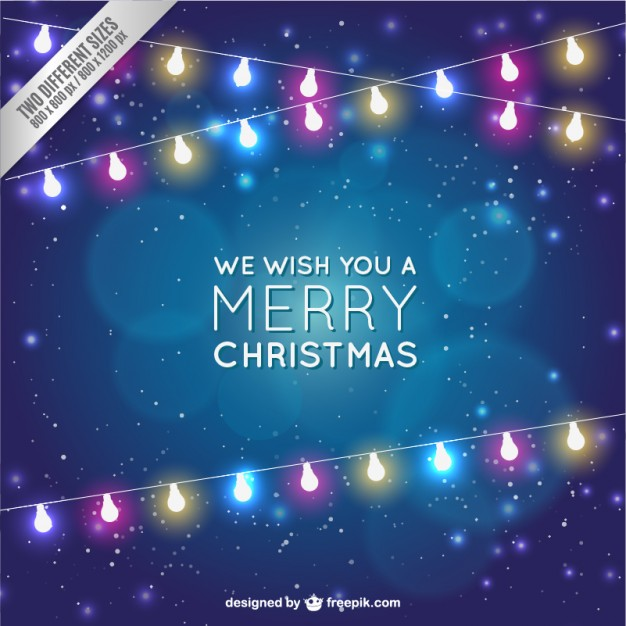 christmas card with light bulbs vector