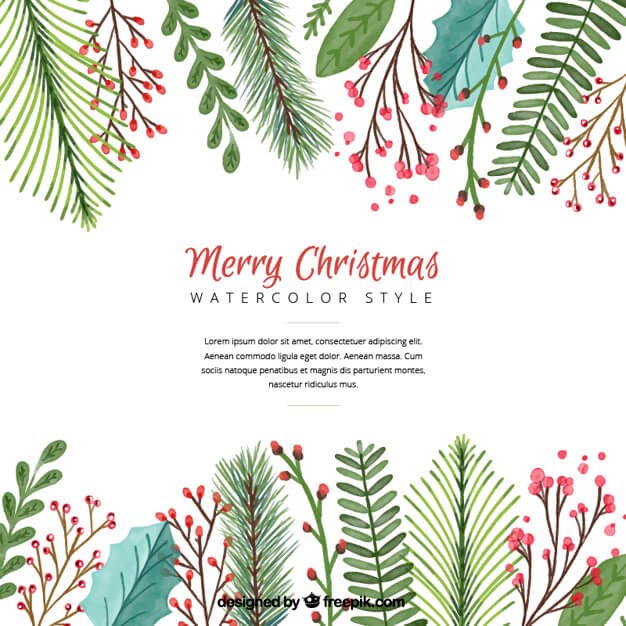 christmas-background-with-watercolor-leaves