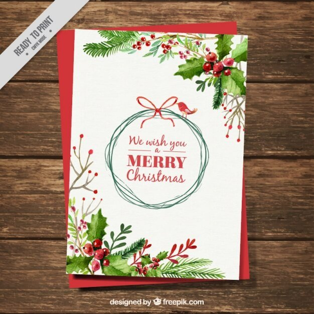 christmas-card-with-watercolor-mistletoe-decoration