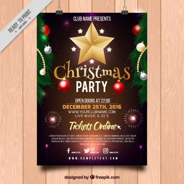 christmas-party-poster-with-ornaments