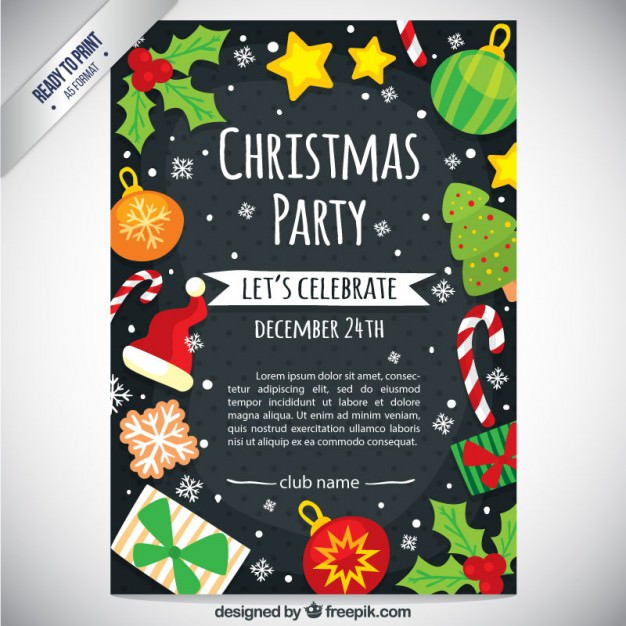 Cute Christmas Party Flyer  Free Xmas Invitations