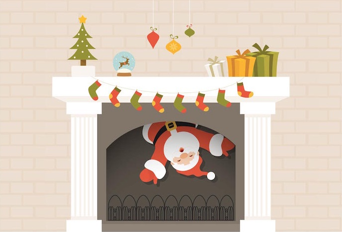 free-santa-descends-from-christmas-fireplace-vector