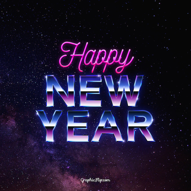 free new year greeting card with 80s retro text effect