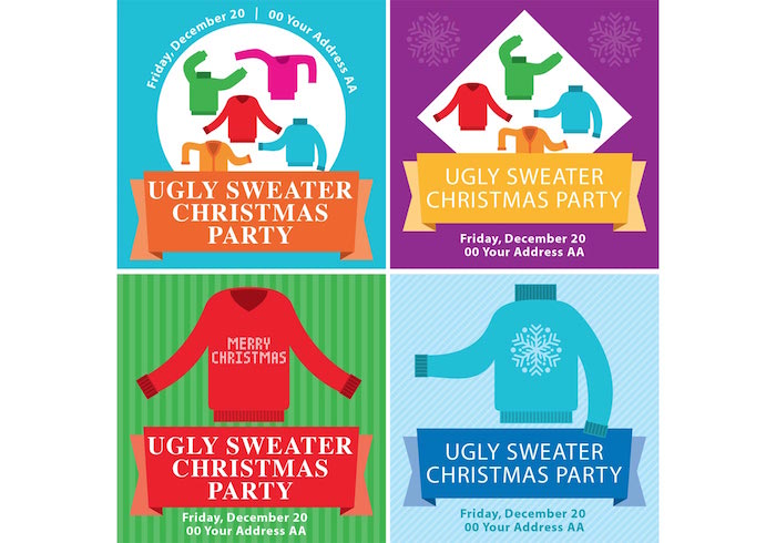 ugly-christmas-sweater-flyers-vector