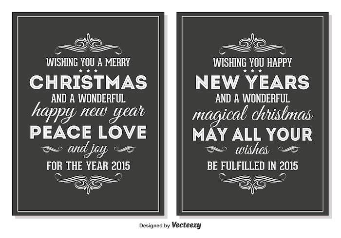 vector chalkboard style retro christmas cards