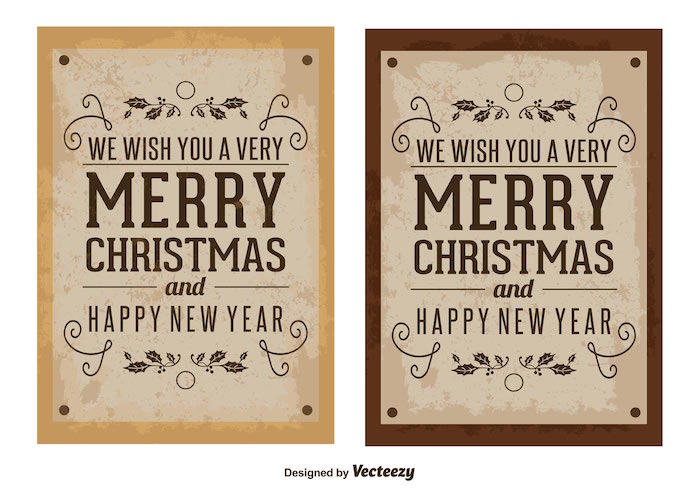 vector old vintage christmas cards