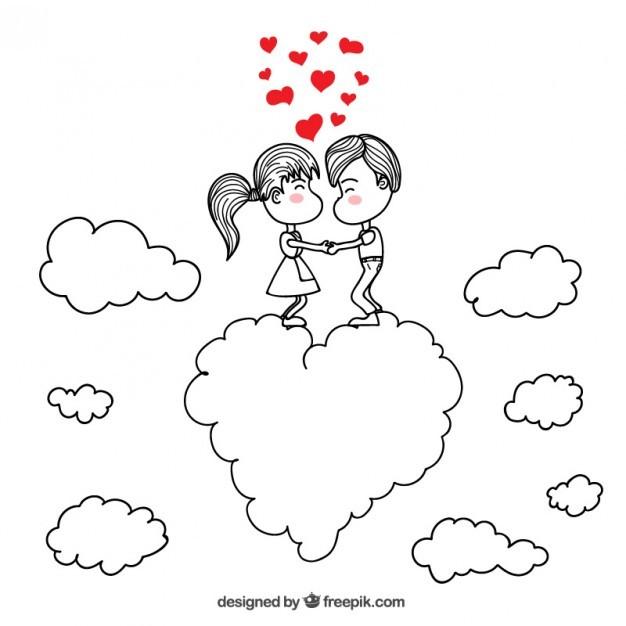 romantic couple drawing