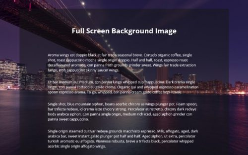 Full Screen Background Image with CSS