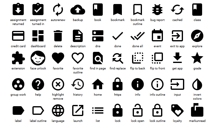 official material design icons