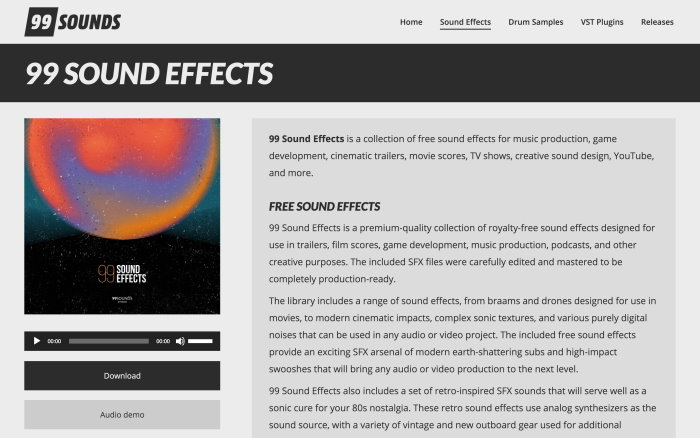 99sounds free sound effects