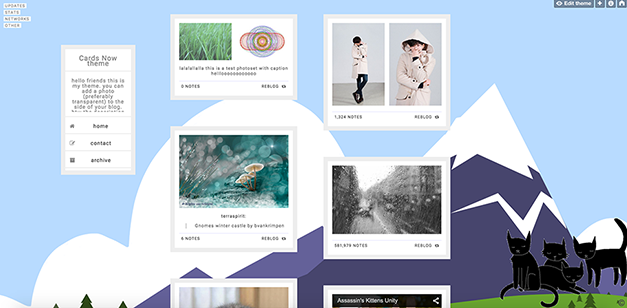 cards material design tumblr theme