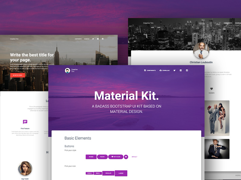 30 material design html5 templates available for download free paid super dev resources - Bootstrap slider div ...