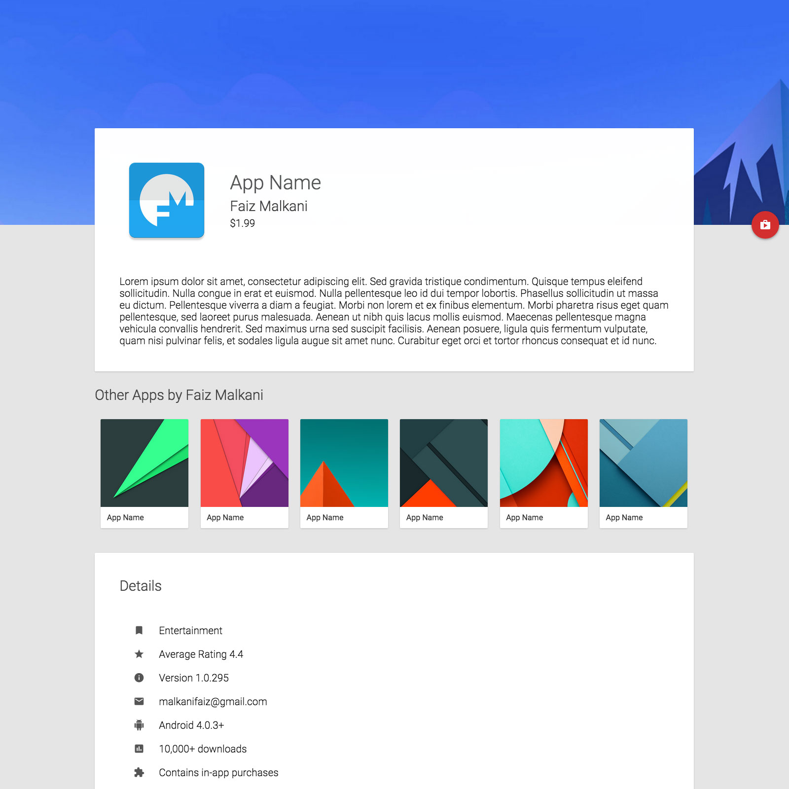 30 material design html5 templates available for download for Material design table