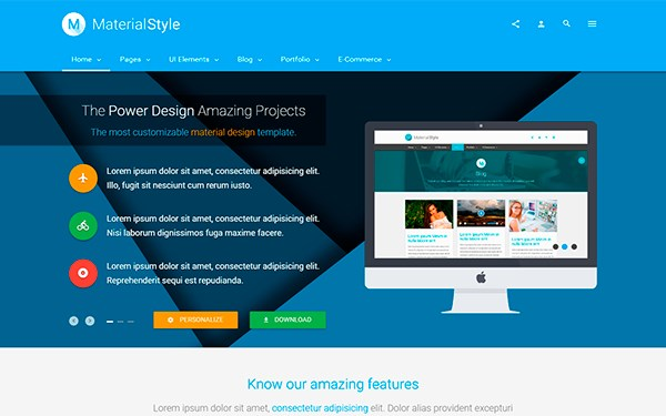 30+ Material Design HTML5 Templates Available for Download (Free