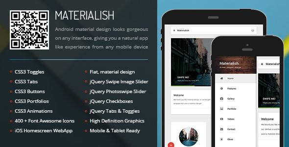 Materialish Mobile Tablet Responsive Template