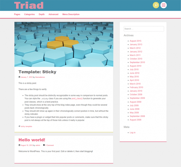 triad wordpress theme