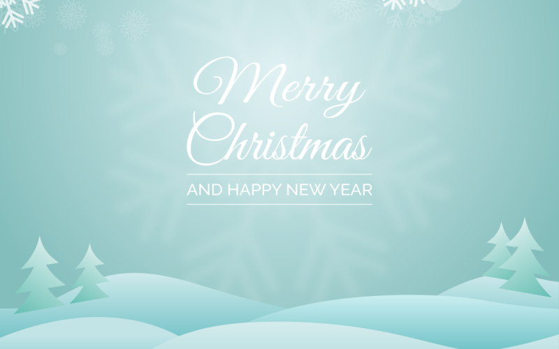 Free Download: Christmas Greeting Vector with Snowy Landscape