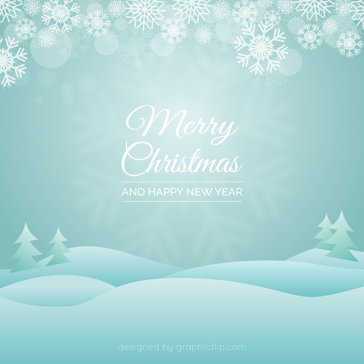 free download christmas greeting vector with snowy landscape